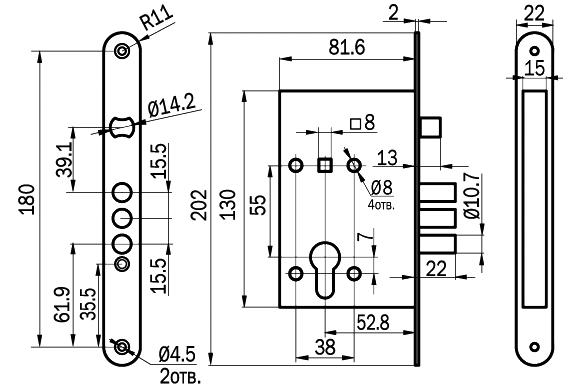 Размеры, Схема нижнего замка